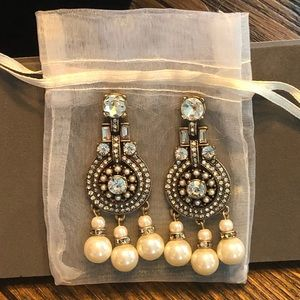 Banana Republic Pearl / Crystal Statement Earrings
